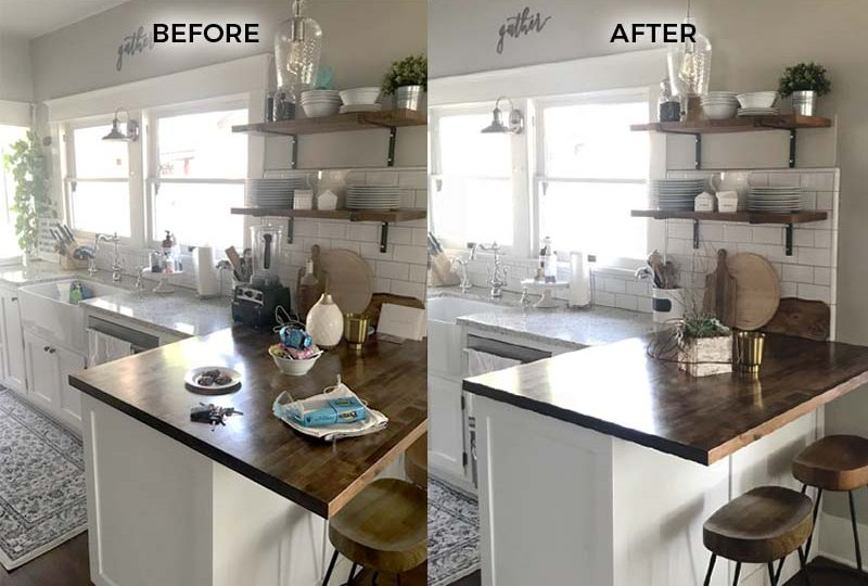 Before and after kitchen counter prepared for an open house