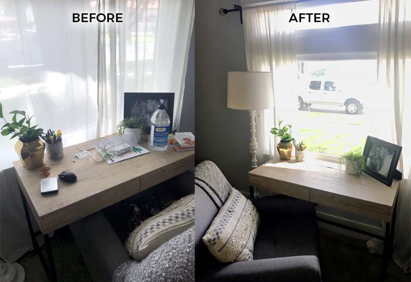 Before and after desk space preparing for an open house