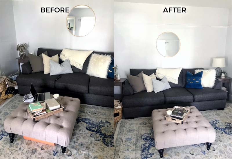Before and after living room preparing for an open house